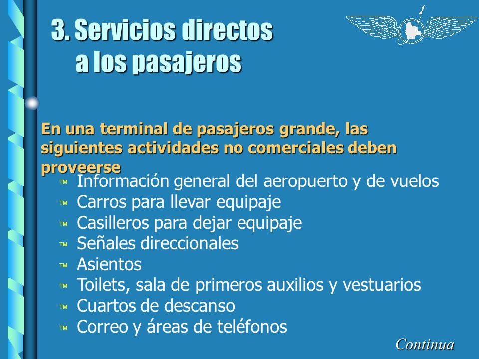 3. Servicios directos a los pasajeros