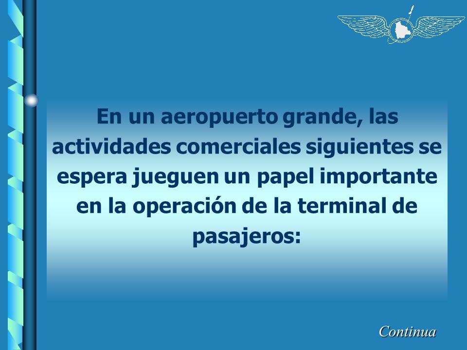 En un aeropuerto grande, las actividades comerciales siguientes se espera jueguen un papel importante en la operación de la terminal de pasajeros: