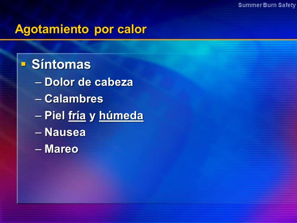 Síntomas Agotamiento por calor Dolor de cabeza Calambres