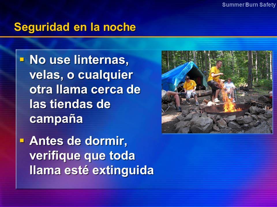 Antes de dormir, verifique que toda llama esté extinguida
