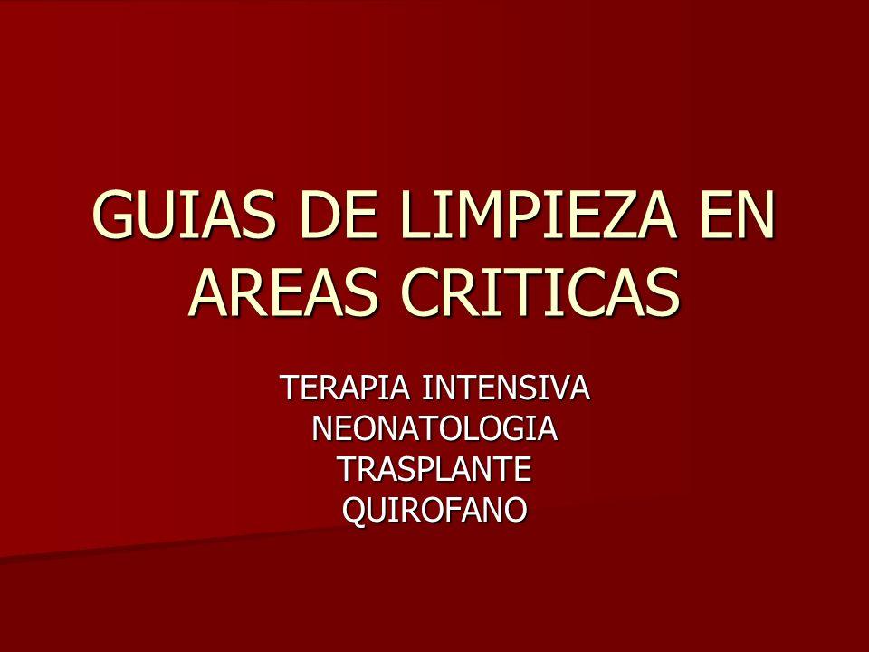 GUIAS DE LIMPIEZA EN AREAS CRITICAS