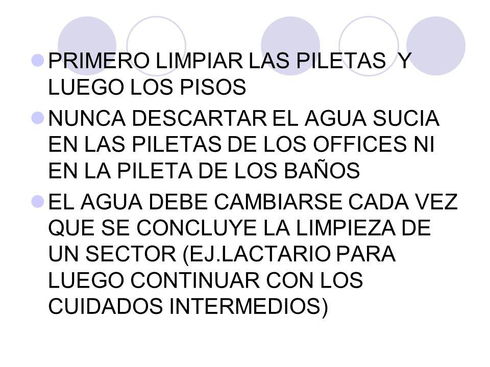 PRIMERO LIMPIAR LAS PILETAS Y LUEGO LOS PISOS