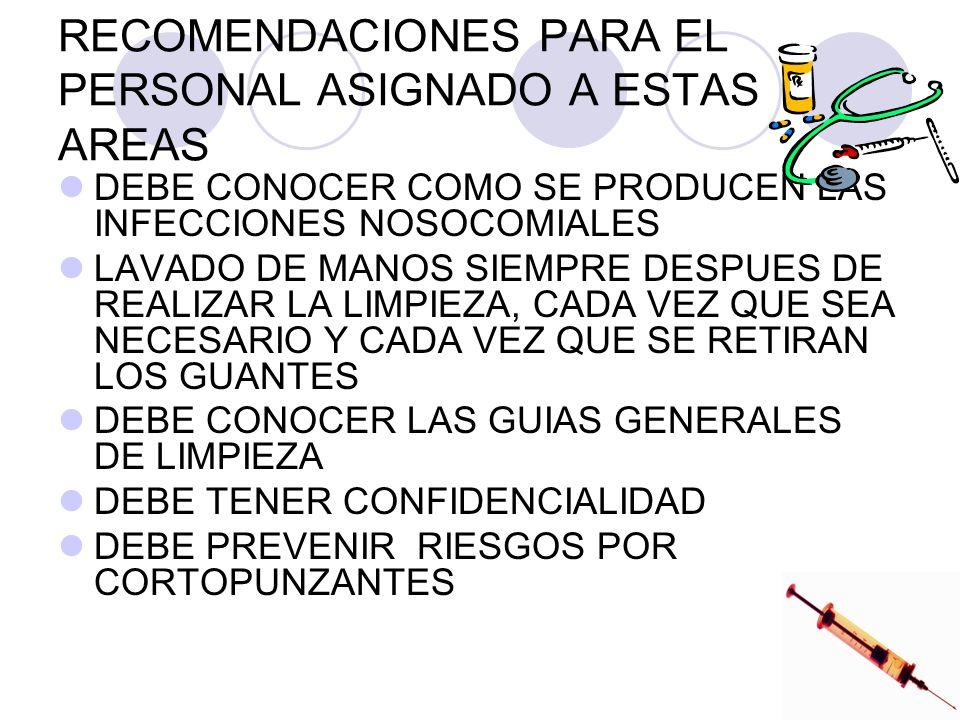 RECOMENDACIONES PARA EL PERSONAL ASIGNADO A ESTAS AREAS