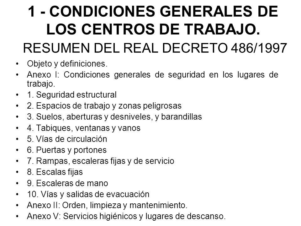 1 - CONDICIONES GENERALES DE LOS CENTROS DE TRABAJO