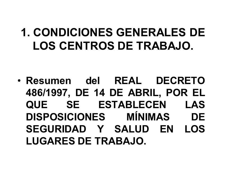 1. CONDICIONES GENERALES DE LOS CENTROS DE TRABAJO.