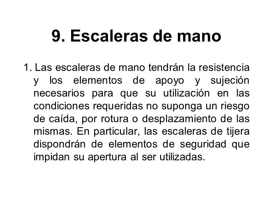9. Escaleras de mano