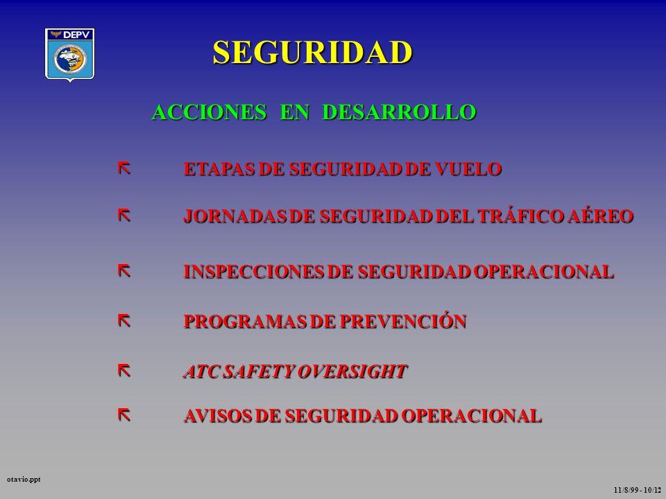 SEGURIDAD ACCIONES EN DESARROLLO ETAPAS DE SEGURIDAD DE VUELO
