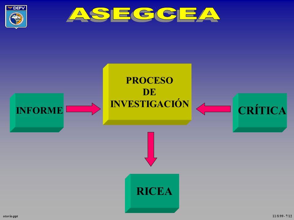 ASEGCEA CRÍTICA RICEA PROCESO DE INVESTIGACIÓN INFORME otavio.ppt