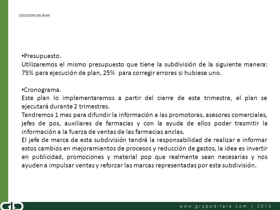 EJECUCION DEL PLAN Presupuesto.