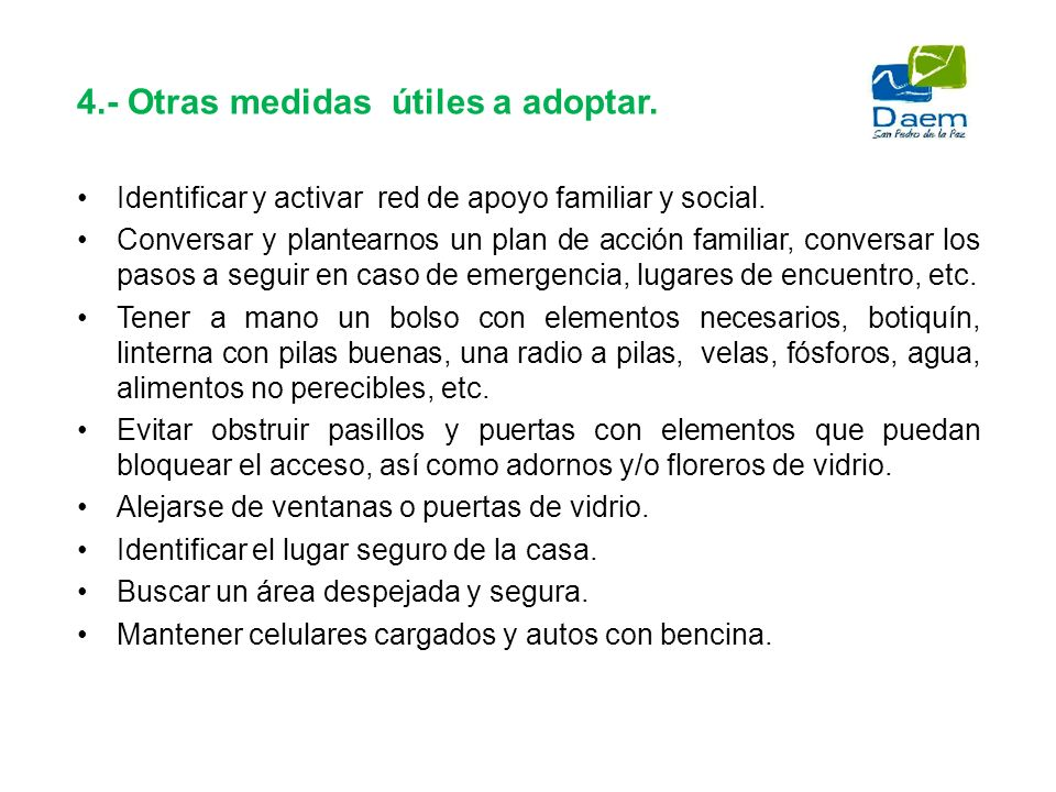 4.- Otras medidas útiles a adoptar.