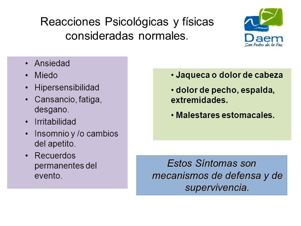 Reacciones Psicológicas y físicas consideradas normales.