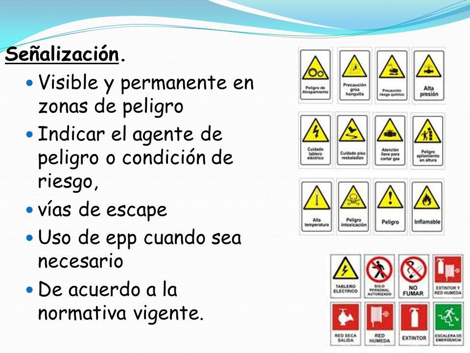 Señalización. Visible y permanente en zonas de peligro. Indicar el agente de peligro o condición de riesgo,