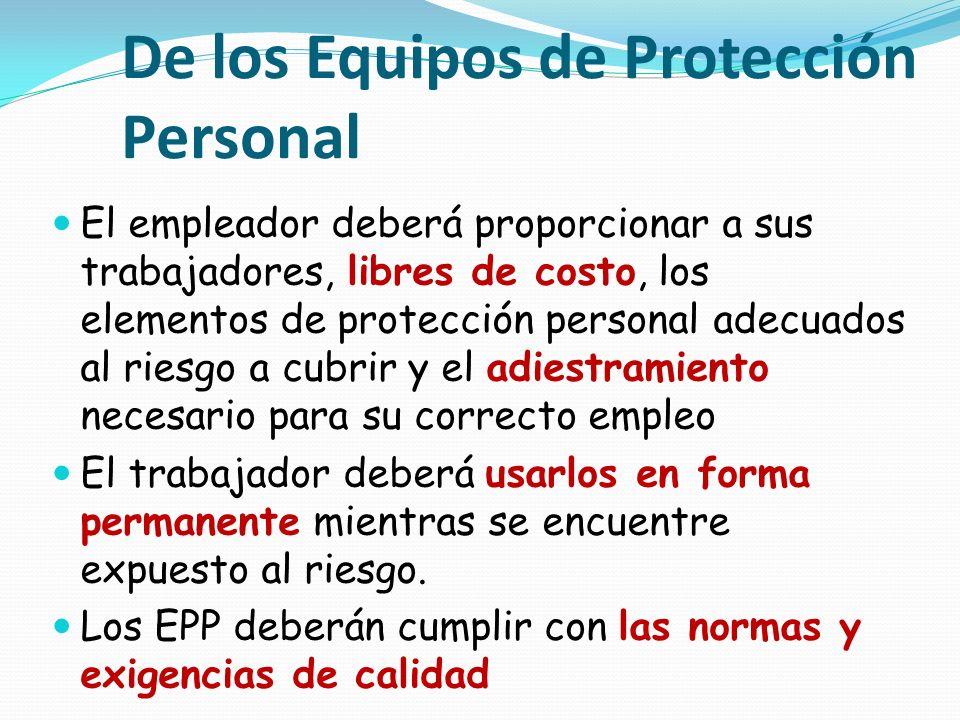 De los Equipos de Protección Personal