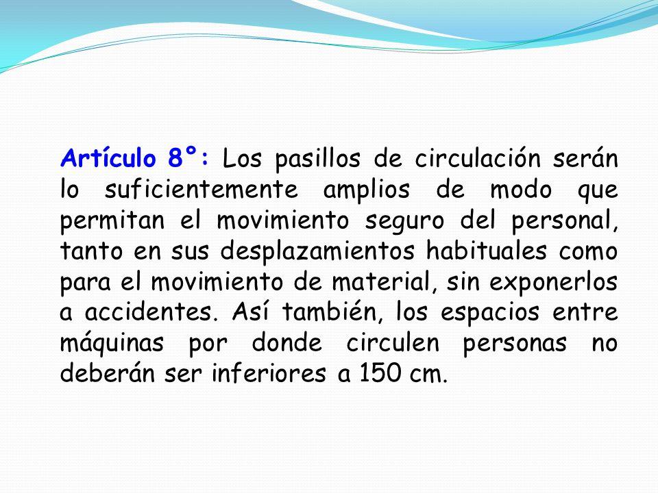 Artículo 8°: Los pasillos de circulación serán lo suficientemente amplios de modo que permitan el movimiento seguro del personal, tanto en sus desplazamientos habituales como para el movimiento de material, sin exponerlos a accidentes.