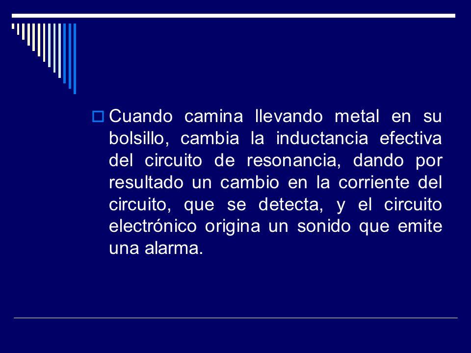 Cuando camina llevando metal en su bolsillo, cambia la inductancia efectiva del circuito de resonancia, dando por resultado un cambio en la corriente del circuito, que se detecta, y el circuito electrónico origina un sonido que emite una alarma.
