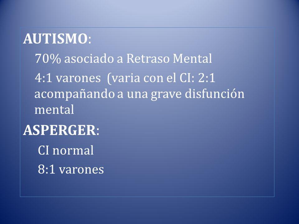 AUTISMO: ASPERGER: 70% asociado a Retraso Mental