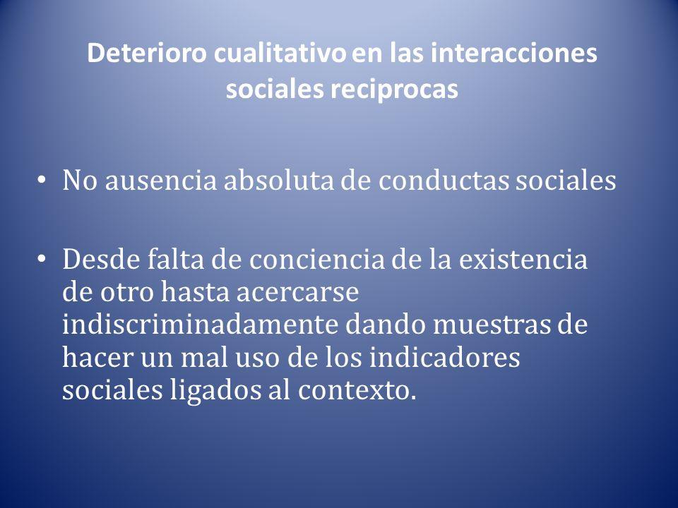 Deterioro cualitativo en las interacciones sociales reciprocas