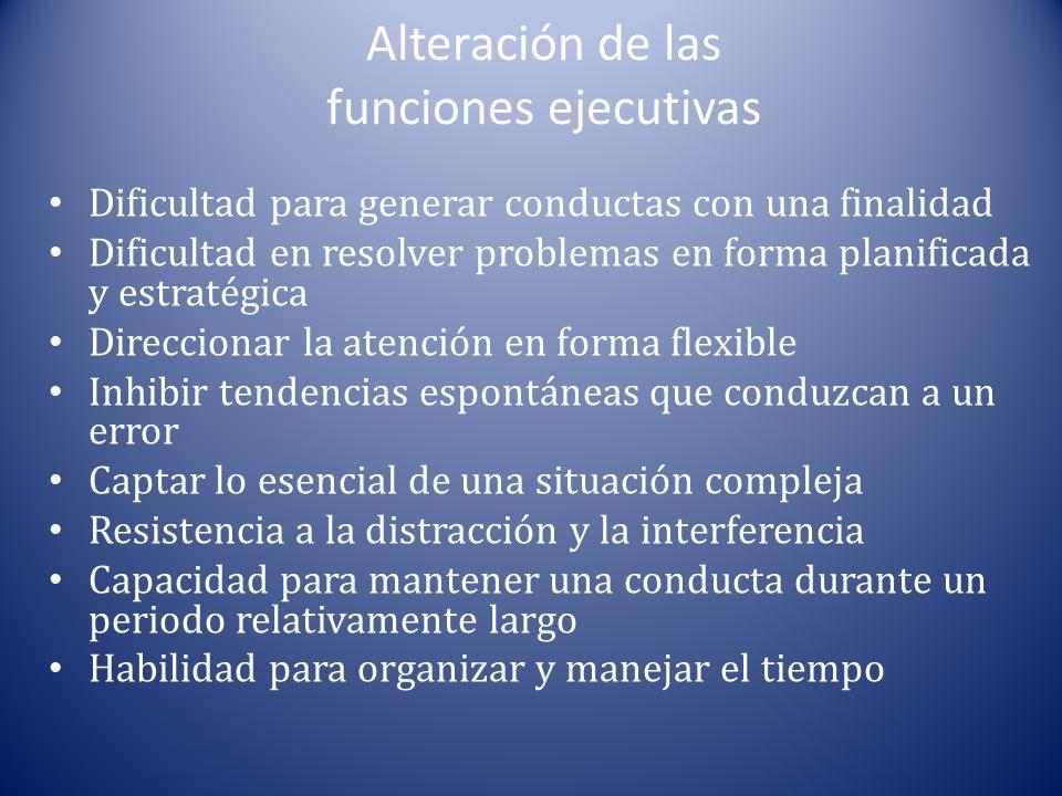 Alteración de las funciones ejecutivas