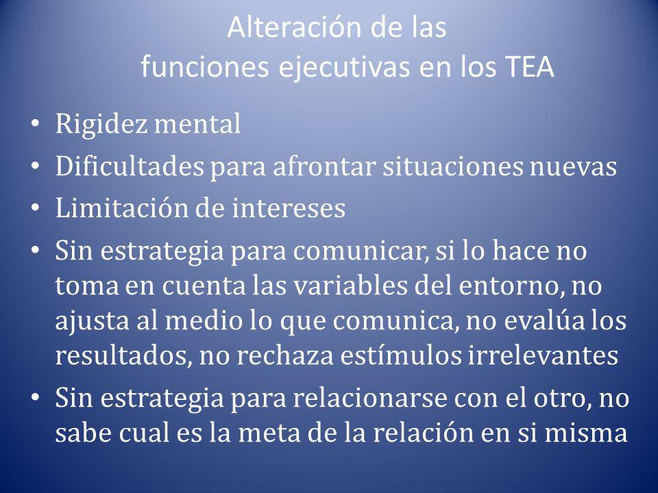 Alteración de las funciones ejecutivas en los TEA