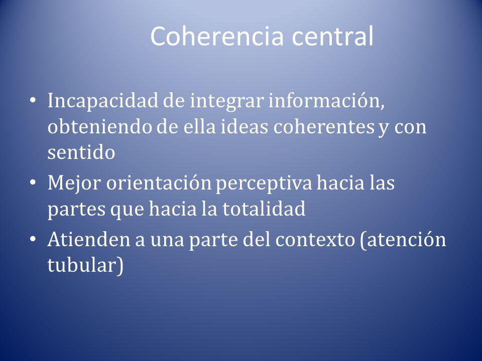 Coherencia central Incapacidad de integrar información, obteniendo de ella ideas coherentes y con sentido.