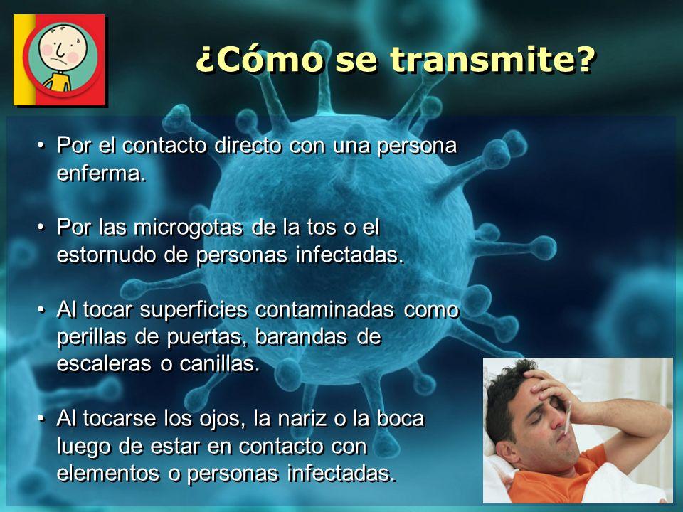 ¿Cómo se transmite Por el contacto directo con una persona enferma.