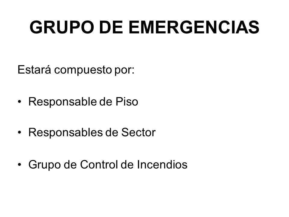 GRUPO DE EMERGENCIAS Estará compuesto por: Responsable de Piso