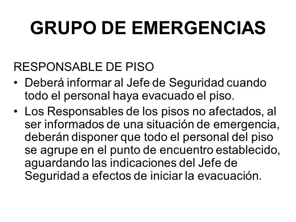 GRUPO DE EMERGENCIAS RESPONSABLE DE PISO