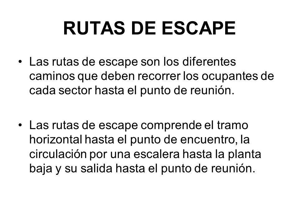 RUTAS DE ESCAPE Las rutas de escape son los diferentes caminos que deben recorrer los ocupantes de cada sector hasta el punto de reunión.