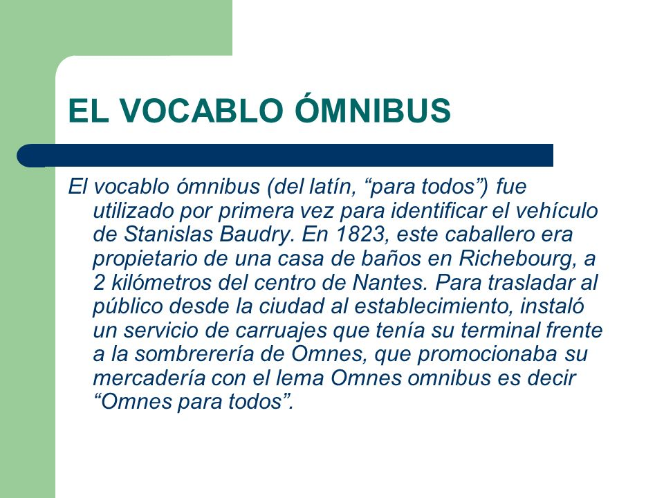 EL VOCABLO ÓMNIBUS