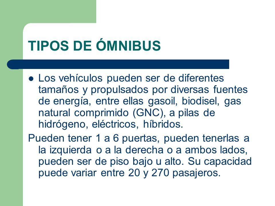 TIPOS DE ÓMNIBUS
