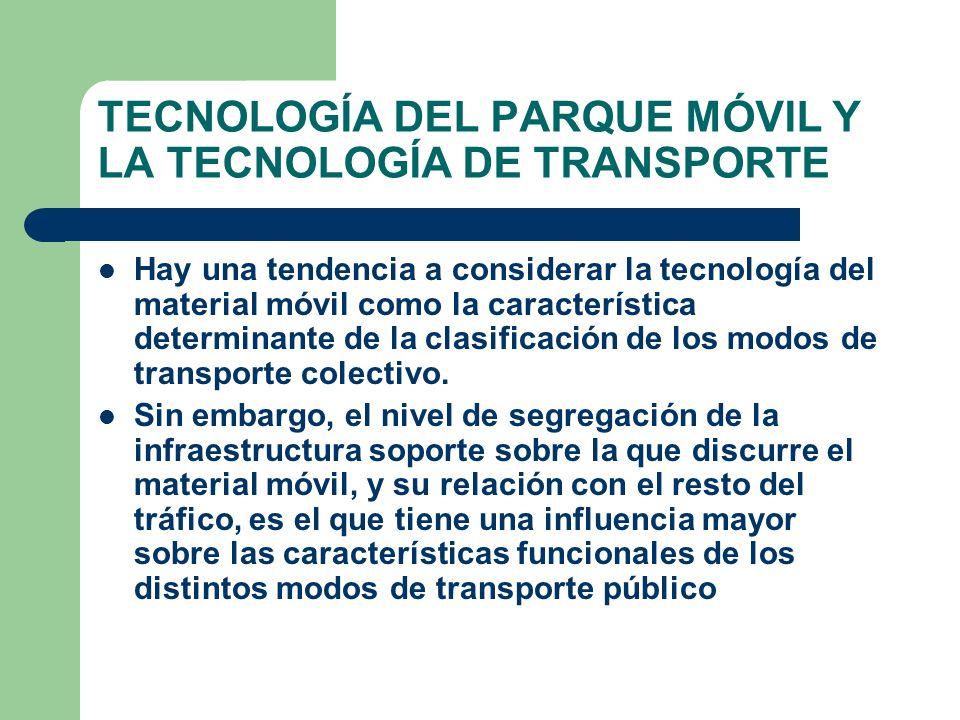 TECNOLOGÍA DEL PARQUE MÓVIL Y LA TECNOLOGÍA DE TRANSPORTE
