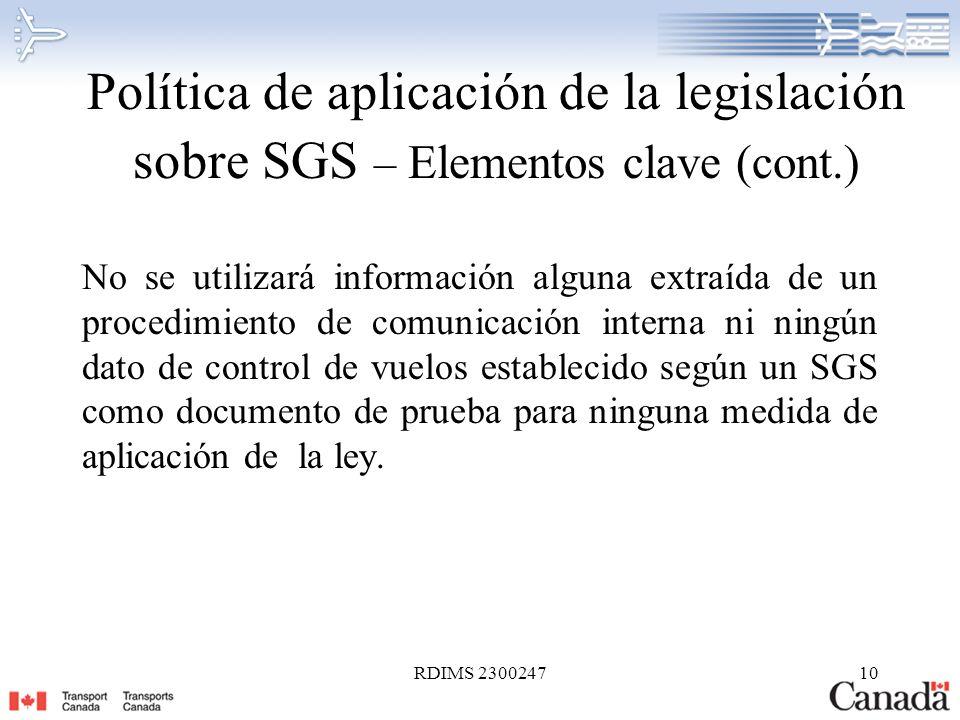Política de aplicación de la legislación sobre SGS – Elementos clave (cont.)