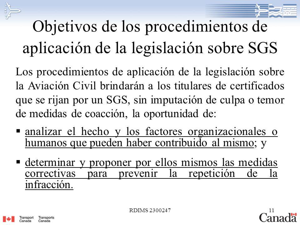 Objetivos de los procedimientos de aplicación de la legislación sobre SGS