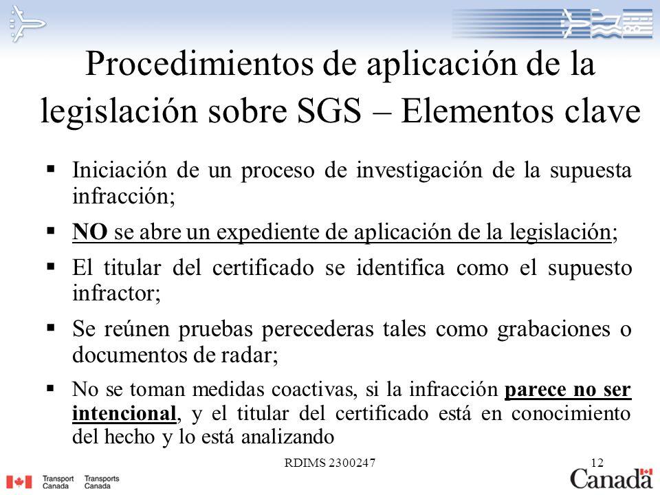 Procedimientos de aplicación de la legislación sobre SGS – Elementos clave