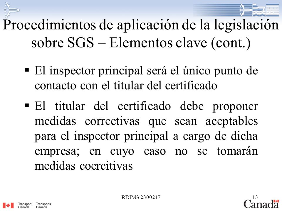 Procedimientos de aplicación de la legislación sobre SGS – Elementos clave (cont.)