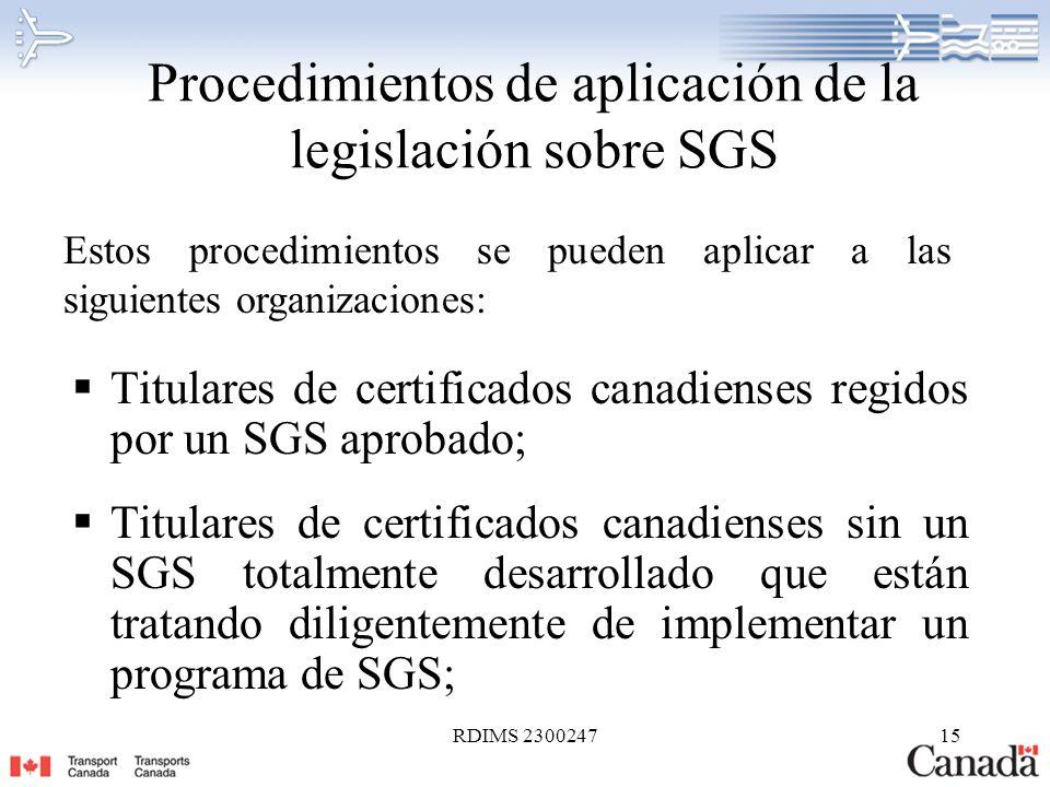 Procedimientos de aplicación de la legislación sobre SGS