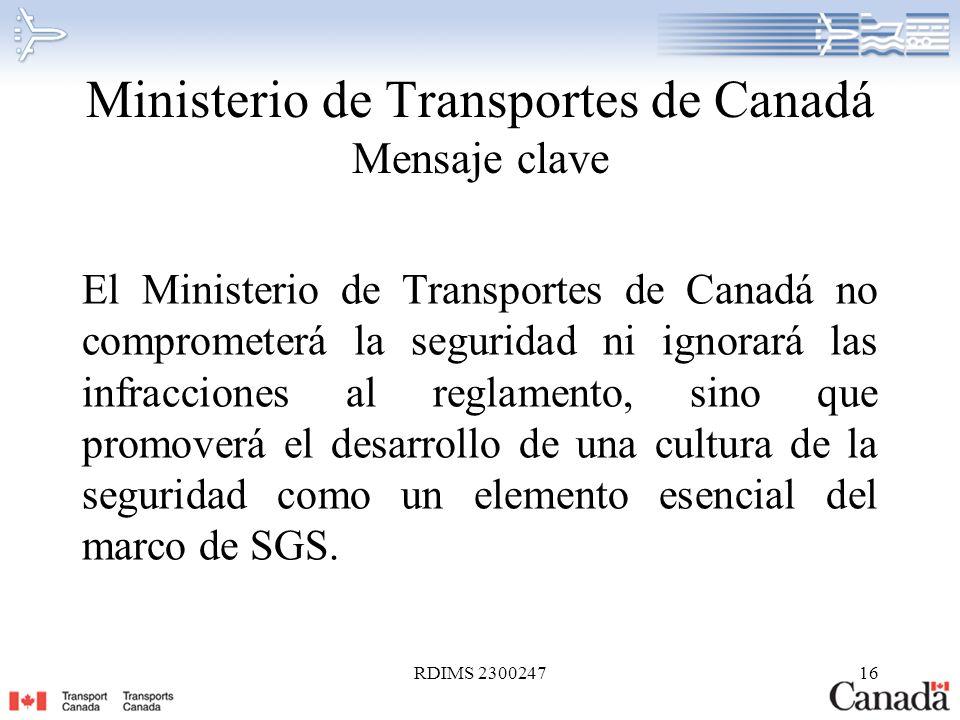 Ministerio de Transportes de Canadá Mensaje clave