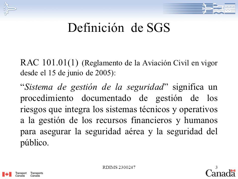 Definición de SGS RAC 101.01(1) (Reglamento de la Aviación Civil en vigor desde el 15 de junio de 2005):