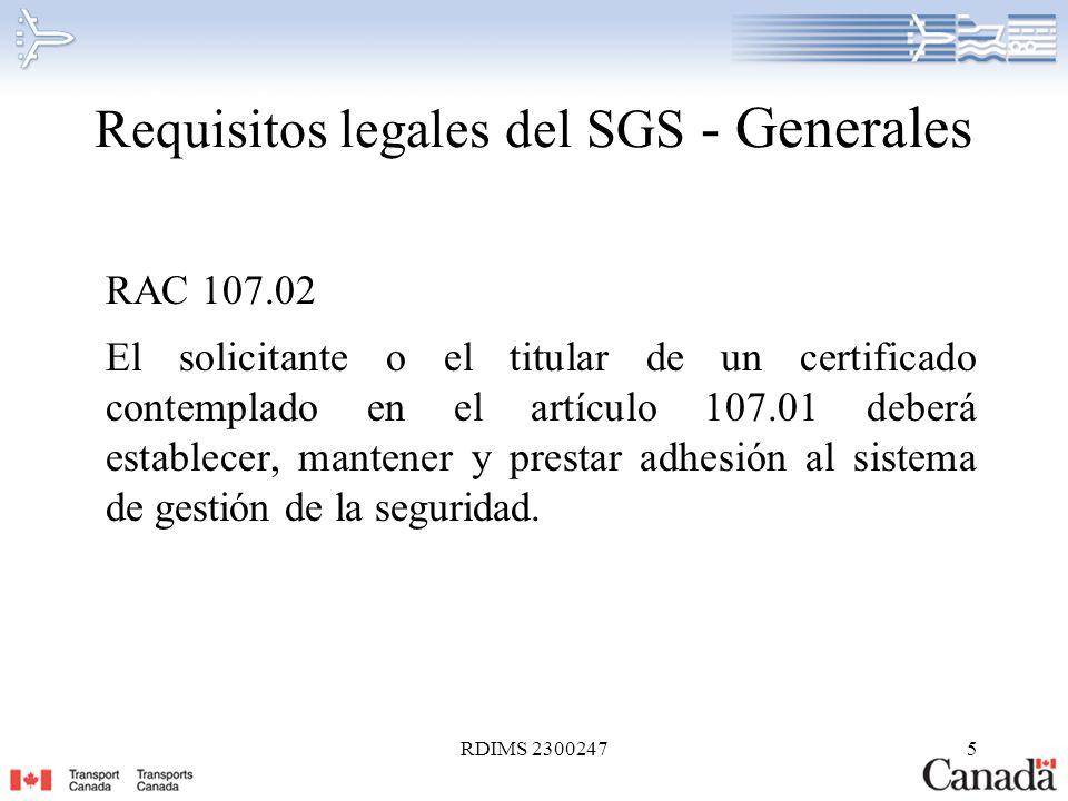 Requisitos legales del SGS - Generales