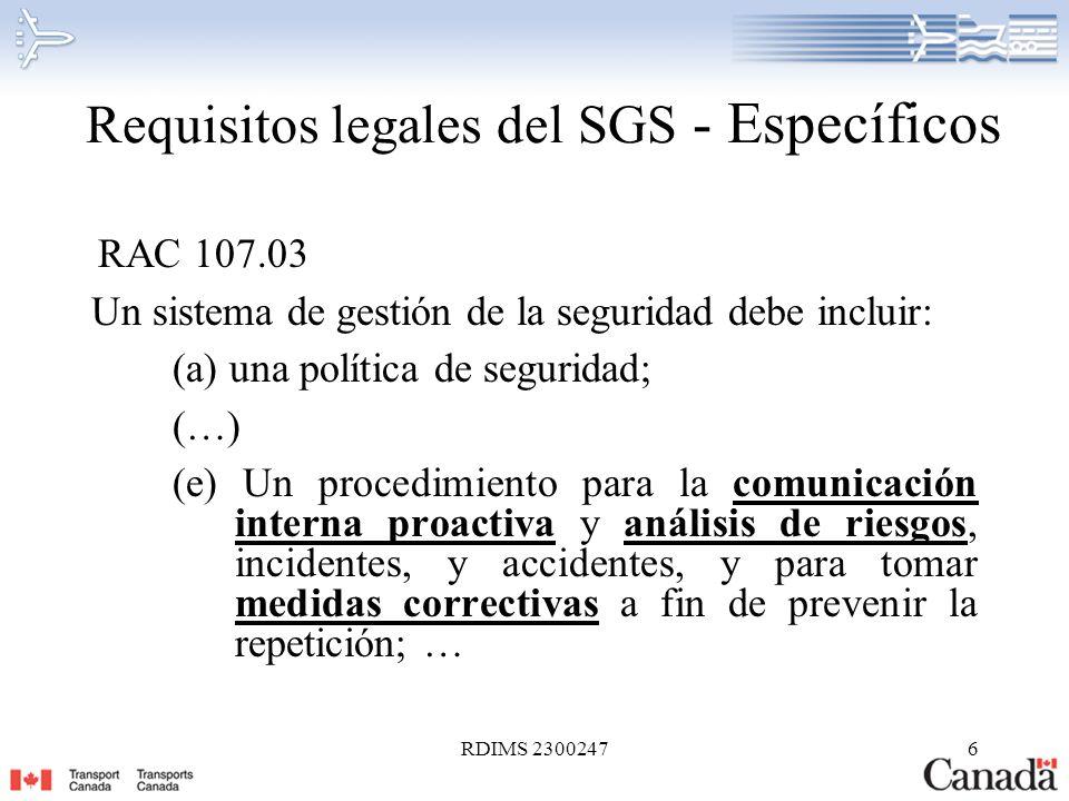 Requisitos legales del SGS - Específicos