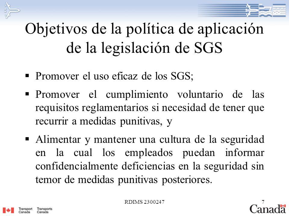 Objetivos de la política de aplicación de la legislación de SGS