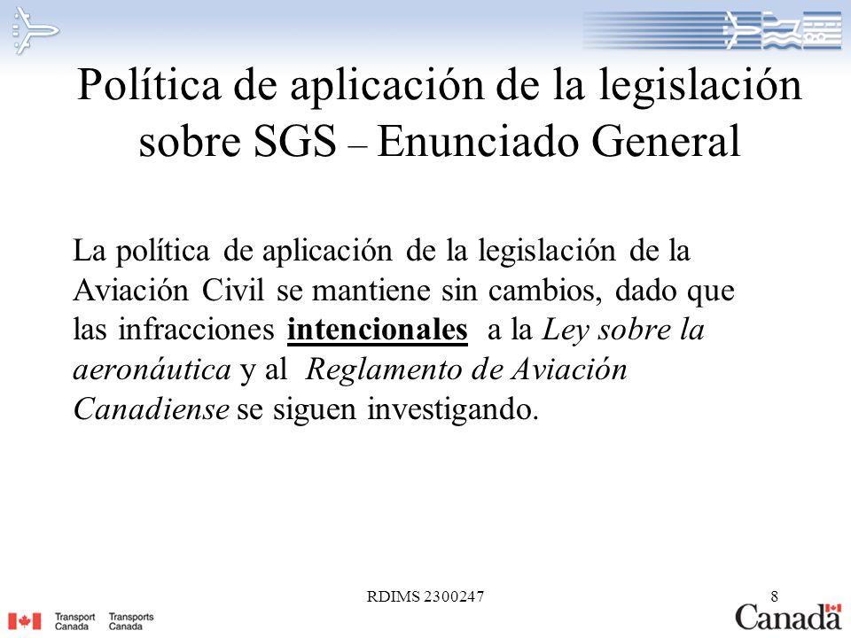 Política de aplicación de la legislación sobre SGS – Enunciado General