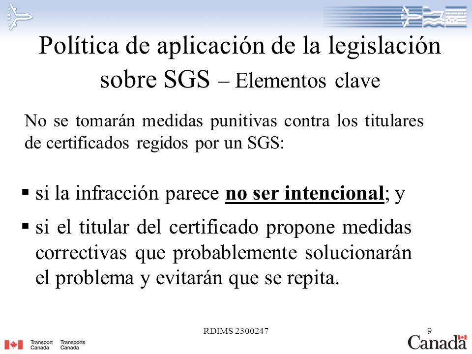 Política de aplicación de la legislación sobre SGS – Elementos clave
