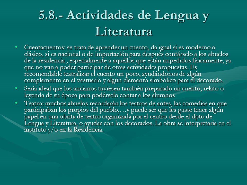 5.8.- Actividades de Lengua y Literatura