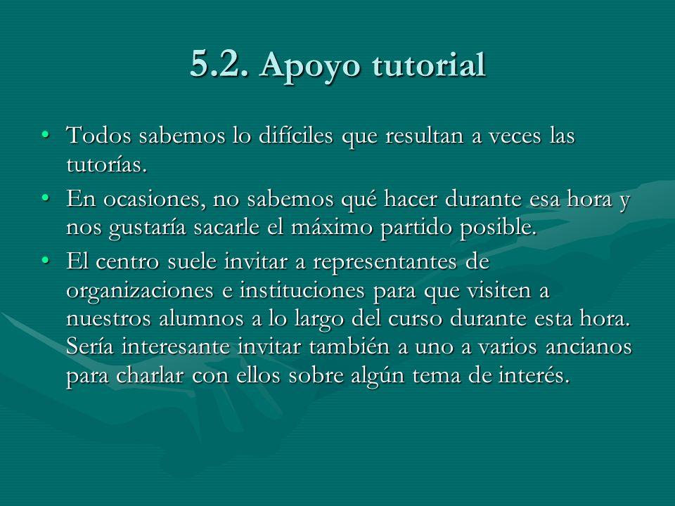 5.2. Apoyo tutorial Todos sabemos lo difíciles que resultan a veces las tutorías.