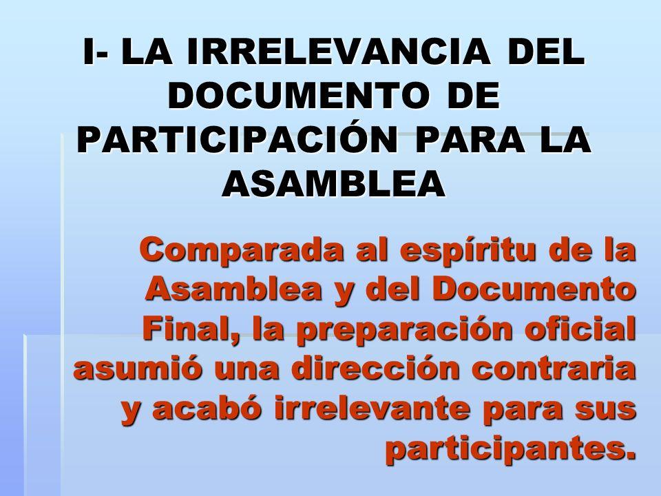 I- LA IRRELEVANCIA DEL DOCUMENTO DE PARTICIPACIÓN PARA LA ASAMBLEA