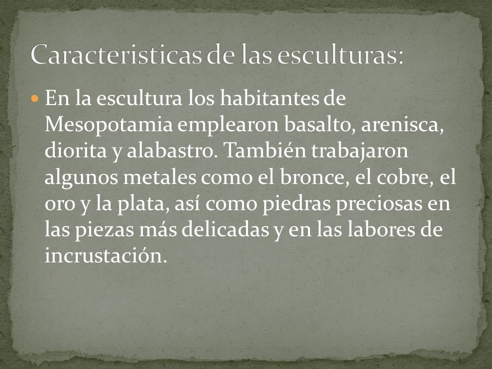 Caracteristicas de las esculturas: