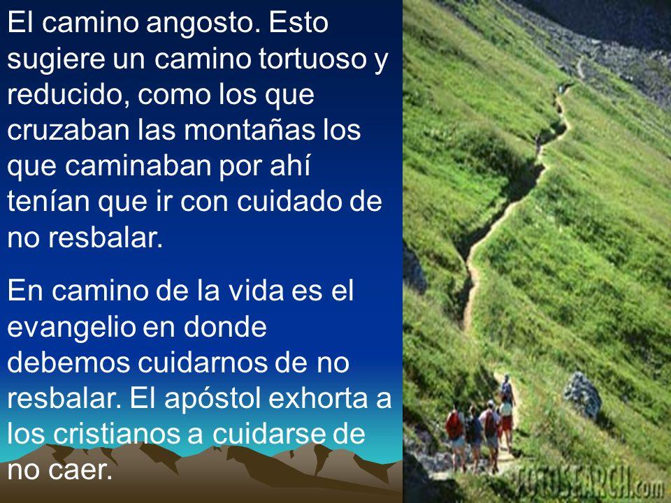 El camino angosto. Esto sugiere un camino tortuoso y reducido, como los que cruzaban las montañas los que caminaban por ahí tenían que ir con cuidado de no resbalar.