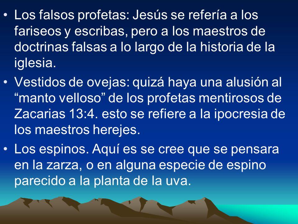 Los falsos profetas: Jesús se refería a los fariseos y escribas, pero a los maestros de doctrinas falsas a lo largo de la historia de la iglesia.