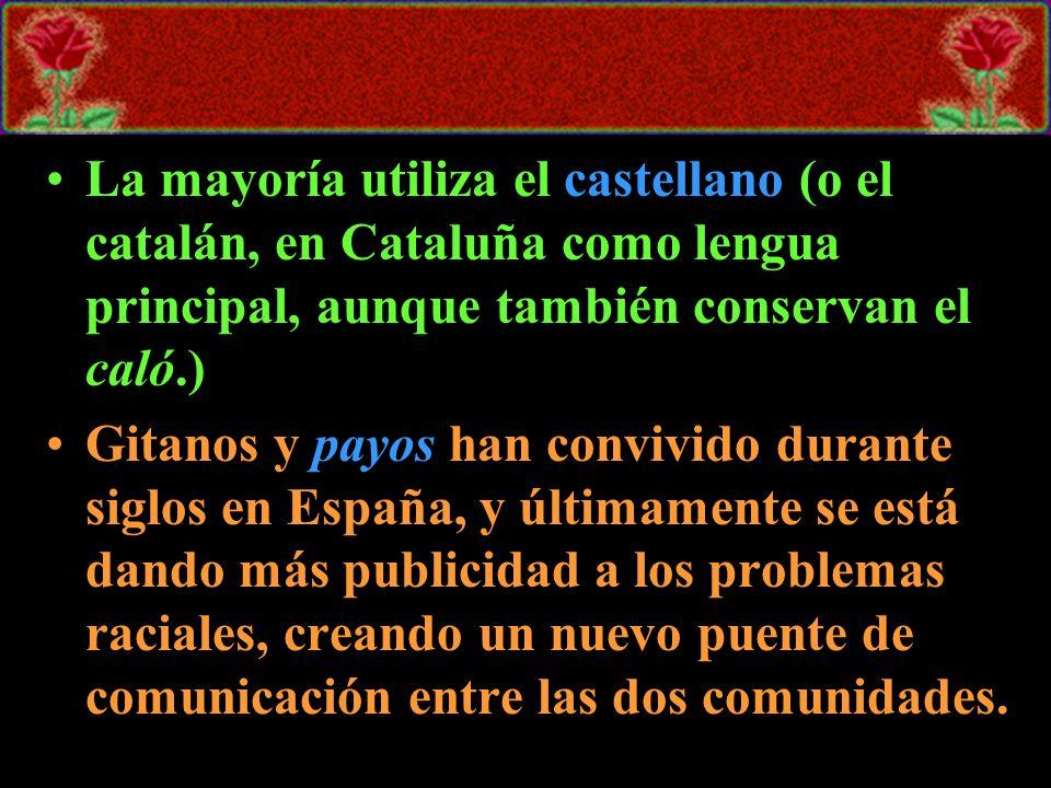 La mayoría utiliza el castellano (o el catalán, en Cataluña como lengua principal, aunque también conservan el caló.)